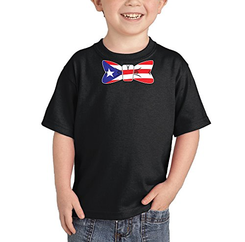 Puerto Rico Flag in Bowtie - Puerto Rican T-Shirt (Black, 4T) ()