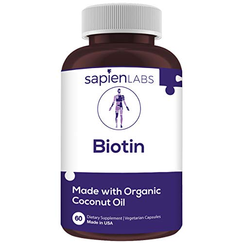 Biotin - Made in USA - 10,000mcg Coconut Oil – Premium Vegetarian Supplement by Sapien Labs (60 Pill Count)