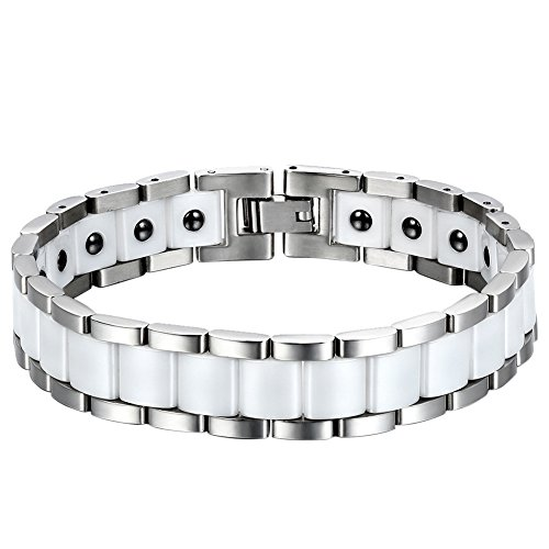 Oidea Mens 13MM Wide Stainless Steel and Healthy Ceramic Bracelet for Biker,Silver and White Tone,8.1 Inch