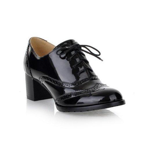 AllhqFashion Mujer Cordón Charol Tacón Medio Puntera Redonda ZapatosdeTacón Negro
