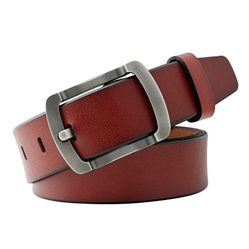 WERFORU Vintage Leather Belts for Real Men Simple Casual Soft Designer Belt - Brown Leather Belt Designer