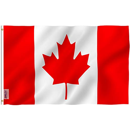 - Anley Fly Breeze 3x5 Foot Canada Flag - Vivid Color and UV Fade Resistant - Canvas Header and Double Stitched - Canadian National Flags Polyester with Brass Grommets 3 X 5 Ft