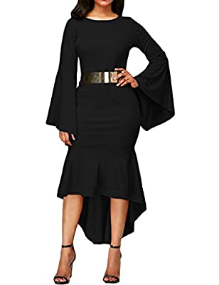 Women's Bell Sleeve High Low Bodycon Mermaid Party Midi Dress With Belt