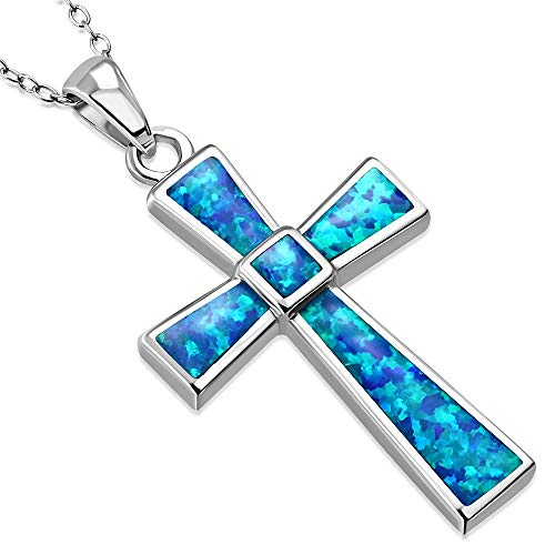 925 Sterling Silver Simulated Blue Opal Religious Cross Pendant Necklace