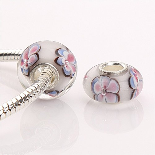 Beads Fit Pandora Bracelets (HYBEADS One Per Murano Glass Authentic 925 Sterling Silver Solid Core Charm Fits Pandora Chamilia Biagi Troll Beads Europen Style Bracelets)