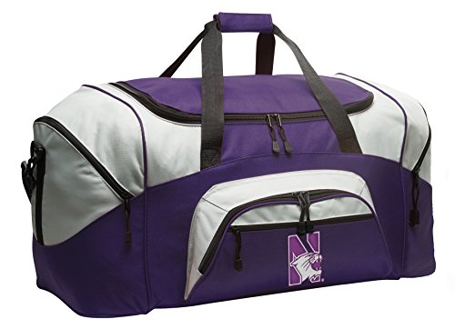 Large Northwestern University Duffle Bag Northwestern Wildcats Gym Bags Purple by Broad Bay