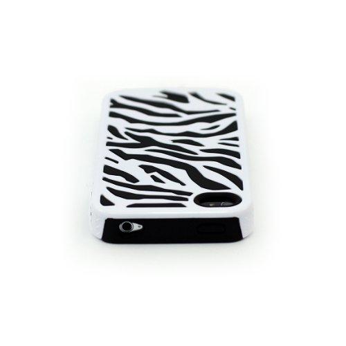 Zooky® schwarz Zebra Hartplastik und Silikon Hülle / Schutzhülle / Cover für Apple Iphone 4/4s