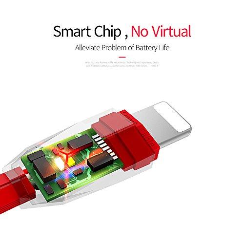 Lightning Kabel, iPhone Kabel, ASMOTIM 1.2 M Zink legiertem Lightning auf USB Ladekabel Ladegerät mit LED für iPhone X /8/ 8P/ 7/7P, iPhone6S/6 ,iPhone 5/5S/5 C/SE, iPad Mini 2 3 4 Air iPod ios10 und mehr(Rot)
