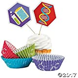 Science Party Cupcake Liners with Picks - Makes 50 Treats