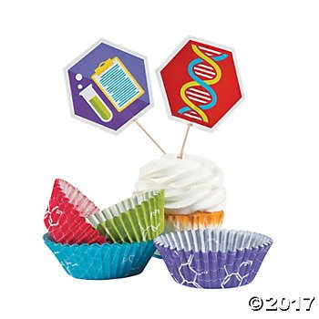 Periodic Table Lab - Fun Express Science Party Cupcake Liners with Picks Pack of 50