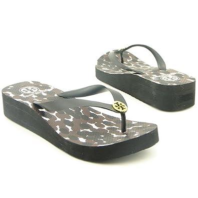 52ae67c71 Tory Burch Wedge Flip Flop Black Sandals Shoes Womens 9  Amazon.co.uk  Shoes    Bags