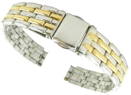 10mm T&C Stainless Solid Link Gold Silver Tone Push Open Clasp Shiny Watch Band (Silver Open Tone Link)