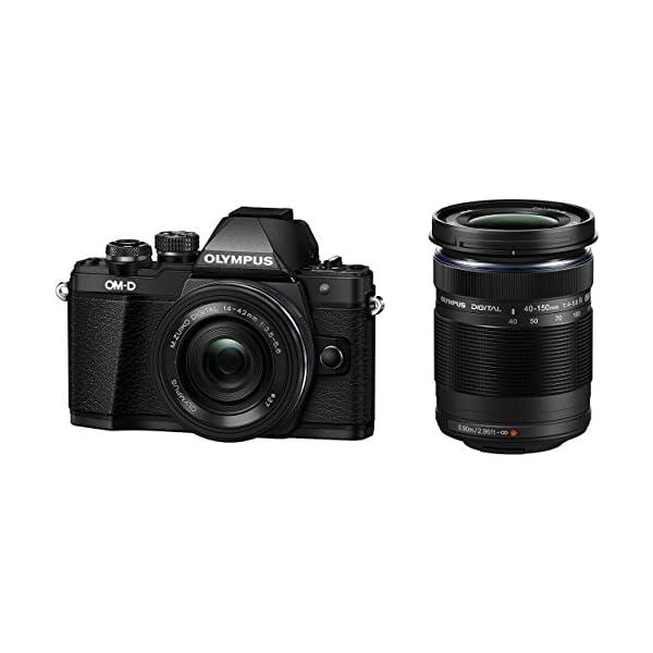 RetinaPix Olympus OM-D E-M10 Mark III Mirrorless Micro Four Thirds DSLR Camera with 14-42 EZ and 40-150 Twin Lens Kit (Black) (Black)