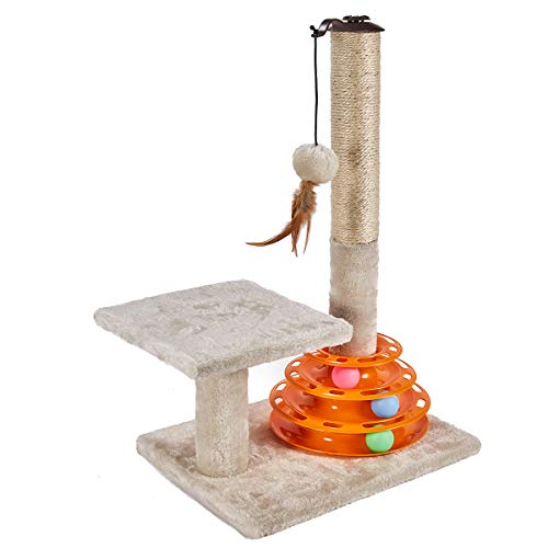 PEEKAB Cat Scratching Post Kitten Sisal Scratcher Tree with Cat Tracks Cat Toy Balls