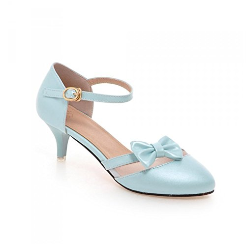 Women Ankle Pointed Toe Sandals High Heels Shoes (Blue) - 2