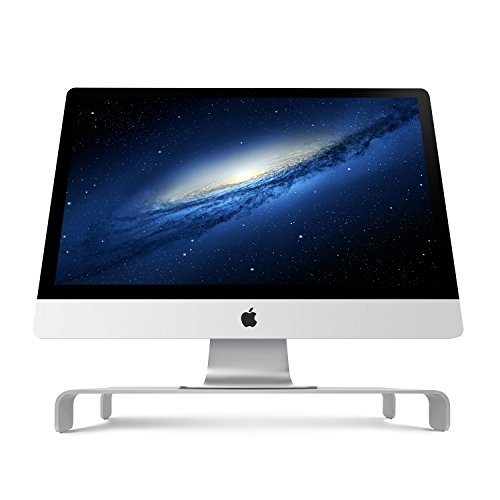 iQunix Spider Thick Aluminum Monitor Stand Computer Riser Silver Holder for Monitor / Laptop / iMac / MacBook / PC with Keyboard Storage (87)