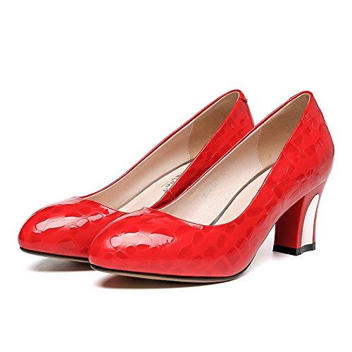 Tallone Rosso Bridesmaid Donne Donne Intermedio Scarpe Pattini Slittamento Sposa Pompe Blocco Rosso Nozze Chiuse wHIfzaq