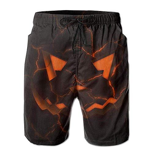 Mens Beach Shorts, Scary Halloween Art Miami Cute Shorts for Men Boys, Outdoor Short Pants Beach Accessories, White -