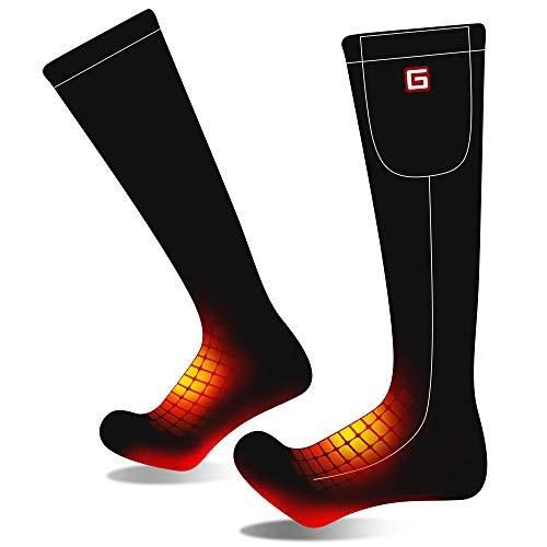 Men Women Rechargeable Electric Heated Socks Battery Heat Sox Kit,Sports Outdoor Winter Warm Thermal Insulate Socks,Footwarmer for Climb Hike Ski Hunt,3 Heat,Temparature Adjustable (Black, M)