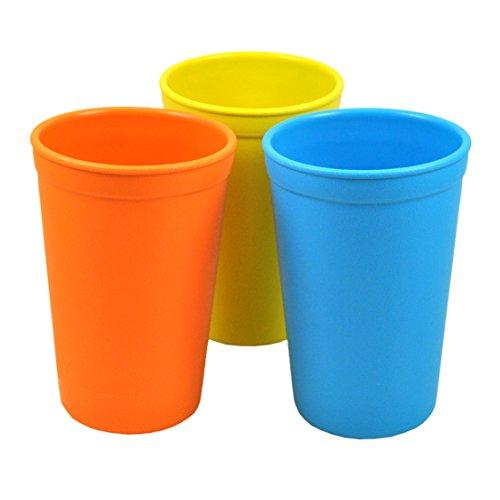 Re-Play Made in the USA 3pk Drinking Cups for Baby and Toddler - Orange, Yellow, Sky Blue (Spring)