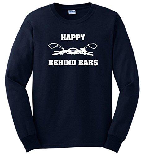 Happy Behind Bars Racing Motorcycle Long Sleeve T-Shirt Large Navy