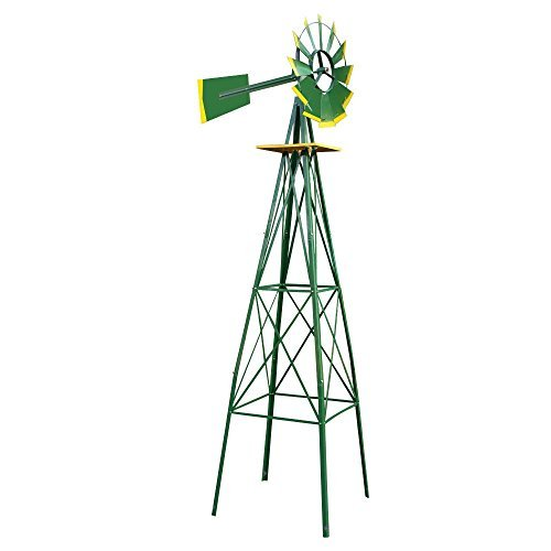 New 8FT Green Metal Windmill Yard Garden Decoration Weather Rust Resistant Wind Mill