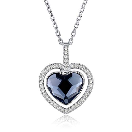 Metal Nickel Pearl Brilliance - Women Necklace 925 Sterling Silver with Crystals from Heart Pendant, Allergen-Free Passed SGS Inspection