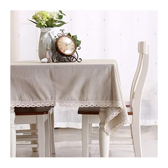 "Enova Home Natural Simple Rectangle Cotton and Linen Washable Tablecloth, Lace Table Cloth Cover with Pattern Printed for Kitchen Dinning Tabletop (54 x 80 Inch, Simple White) - Material: 60% Cotton 40% Linen; Measures 54"" Wide x 78.7"" Length (140 x 200 cm),includes lace macrame length Care Instructions: Machine wash cold delicate, hand wash best; hang up to dry;low iron;don't bleach Suitable for kitchen room, dining room, and family room - tablecloths, kitchen-dining-room-table-linens, kitchen-dining-room - 41hTUGAYqdL. SS570  -"