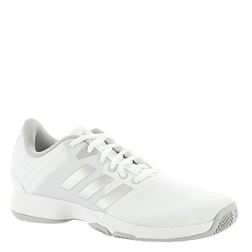 adidas Performance Women's Barricade Court w Tennis Shoe, White/Matte Silver/Grey Two, 9.5 M US