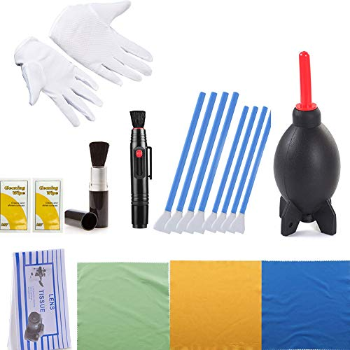 Lens Cleaner Camera Cleaning Kit - 4 X 24mm&16mm Swabs, Rocket Air Blaster, Anti-Static Gloves, Brush, 2in1 Lens Cleaning Pen, Cleaning Paper, Tissues, 3 Cloths ()