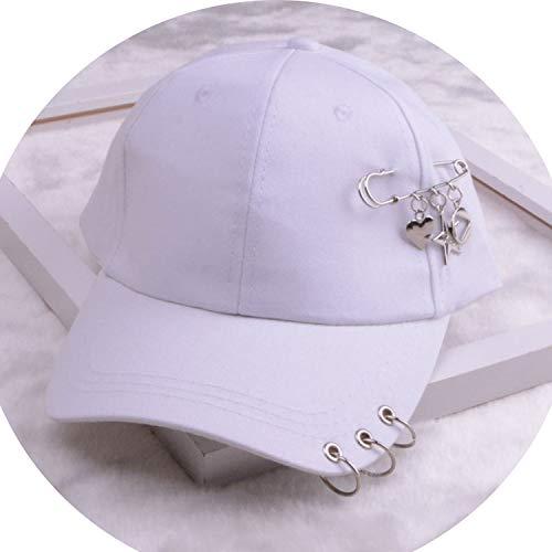 女性 リング野球帽 男性女性 白黒 野球の帽子,ハートスターホワイト