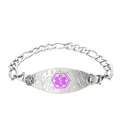 - Divoti Deep Custom Laser Engraved Lovely Filigree Medical Alert Bracelet -Stainless Figaro-Purple-7.0