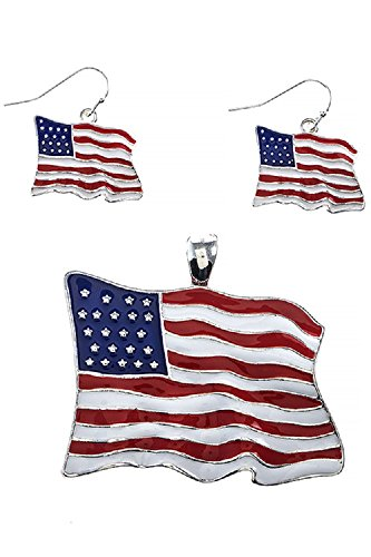 [Silver Patriotic Wavy American Flag 316L Surgical Steel Fashion Pendant Earring Set] (Wavy Guy Costume)