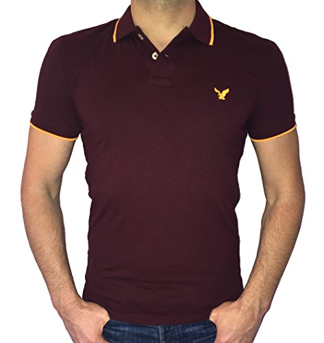 American Eagle Outfitters Men's Slim Fit Tipped Polo T-shirt (Large, Burgundy/Orange)