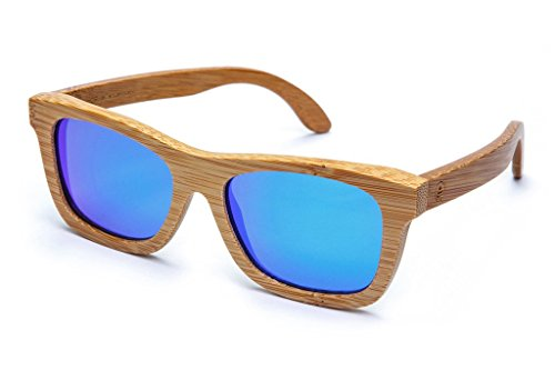 Tree Tribe Polarized Bamboo Sunglasses with Hard Case and Microfiber Pouch - Original Floating Bamboo Wood Wayfarer Style for Men and Women - Mirror Blue/Indigo - Wayfarer Bamboo