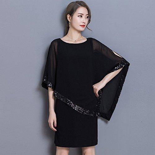 XIU*RONG La Camiseta Sin Mangas Vestidos De Vestidos De Gasa Vestido black