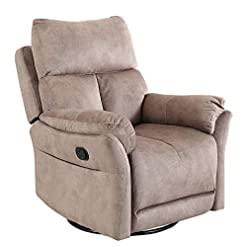 Living Room Merax Recliner Chair Lazy Sofa, Manual Ergonomic Design with Overstuffed Cushions and 360 Degree Living Room, Fawn…