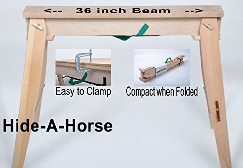 HideAHorse Folding Sawhorse (2-Pack): Lightweight, Sturdy, 1200 lb capacity, Carry 2 in 1 Hand Easily; USA ()