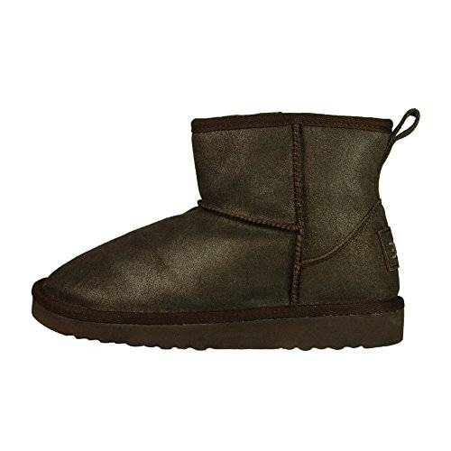 Dude Shoes Womens Sella Ladies Boot Bronze Lame Suede Gold & Brown