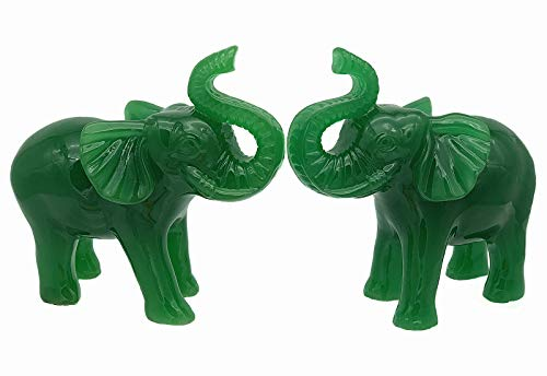 Betterdecor A Pair of Feng Shui Trunk up Lucky Elephant Statue Figurine Home Office Decorationfor Good Fortune