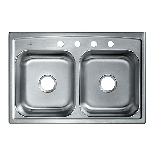 KOHLER K-3346-4-NA Toccata Double Equal Self-Rimming Kitchen Sink, Stainless Steel (Double Kohler Rimming Bowl Self)