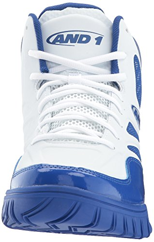 AND1 and 1 Men's Tactic Basketball Shoe, White/White/Royal, 8 M US