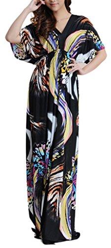 Wantdo Women's Boho Bohemian V Neck Beach Maxi Dress Plus Size – Medium, Butterfly