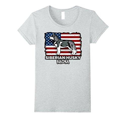 Womens Siberian Husky Mom Dog American Flag T-shirt Small...