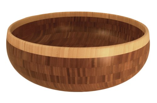 Totally Bamboo 16'' Classic Bowl, Beautiful Two-tone Bamboo Bowl Makes an Ideal Serving Piece for Salad and Side Dishes by Totally Bamboo