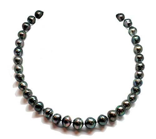 Black Peacock Tahitian Pearl Strand Necklace, Huge Baroque Circle Pearls 10 – 12+ mm / 14k White Gold Ball Clasp