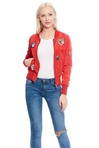 Women's Casual Lightweight Classic Bomber Flight Jacket with Patches (Red, XL)