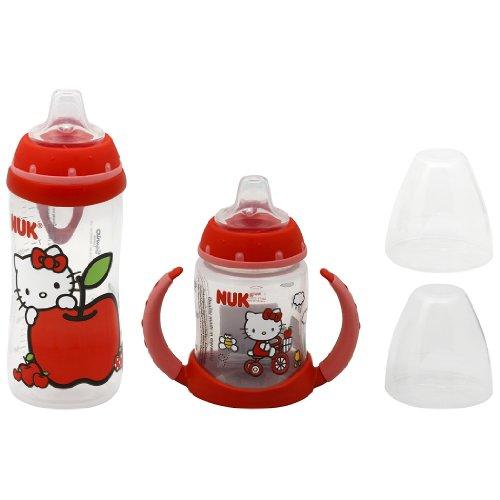 NUK Hello Kitty Silicone Spout Active Cup, 10 Ounce with NUK Hello Kitty Silicone Spout Learner Cup, 5 Ounce