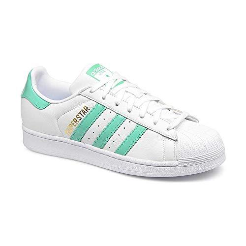 ADIDAS MEN'S ORIGINALS SUPERSTAR SHOES, CLOUD WHITE / HI-RES GREEN / GOLD METALLIC, Size 10 - Sneaker Leather Hi Star