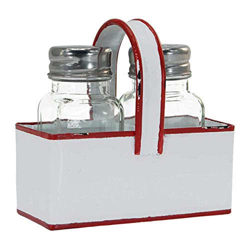 (White Enamel Salt & Pepper Shaker Holder with Red Trim & Two Glass Shakers)